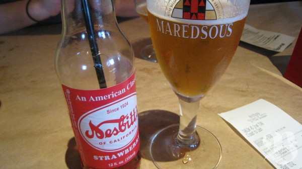strawberry soda + beer = yum