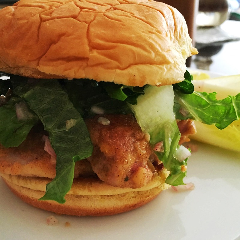 Buffalo Chicken Sandwiches with Endive & Blue Cheese Salad